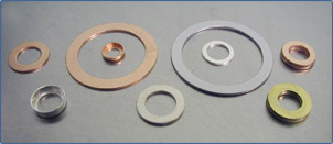 Aluminum, Copper, Silver flat and cupped washers